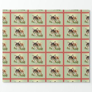 Papel de embalaje tricolor del navidad del Corgi Papel De Regalo