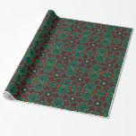 Papel de embalaje verde rojo del diseño del