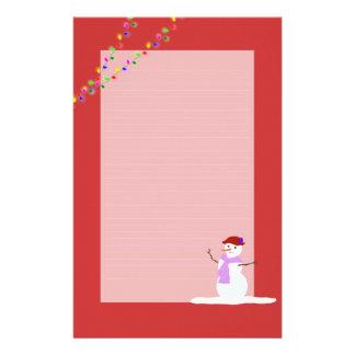 Papel de escribir alineado rojo del navidad de la papelería de diseño