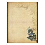 Papel de escribir azul chino del dragón membretes personalizados