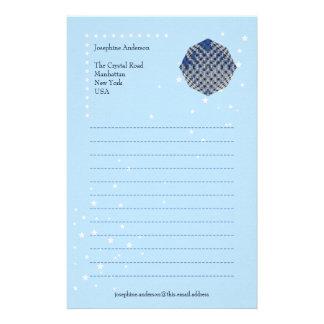 Papel de escribir cristalino azul del navidad papelería