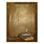 Papel de escribir de la vela del bosque membrete personalizado