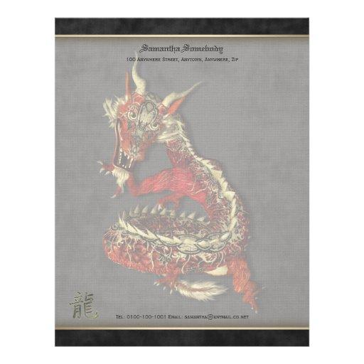 Papel de escribir rojo chino del dragón plantilla de membrete