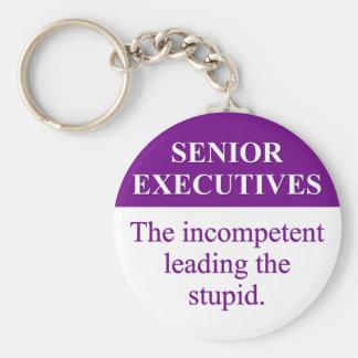 """Papel de la tutoría de ejecutivos """"senior"""" (3) llavero redondo tipo pin"""
