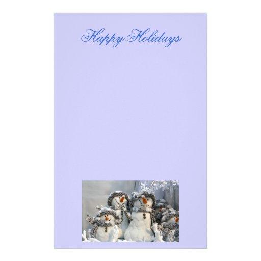 Papel de letra del navidad de los muñecos de nieve papelería