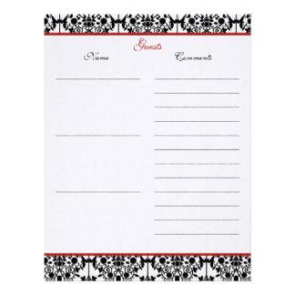 Papel de lino del libro de visitas del damasco roj membrete personalizado