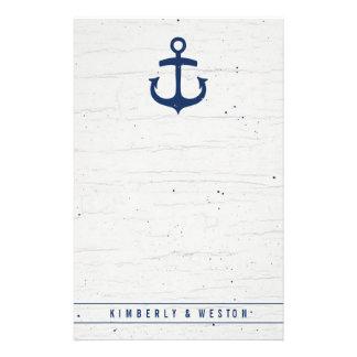 Papel de nota del boda/marina de guerra náuticos papelería personalizada