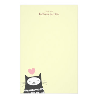 Papel de nota feliz de Personalizable del gato de  Papelería De Diseño