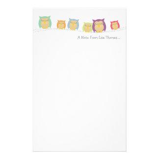 Papel de nota personalizado del búho  papeleria