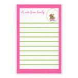 Papel de nota rosado de la rana papelería de diseño