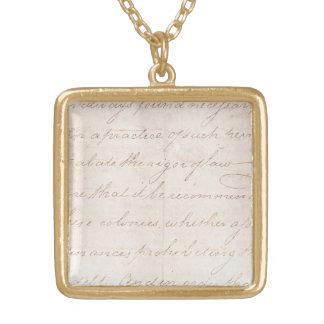 Papel de pergamino colonial de la escritura del collar dorado