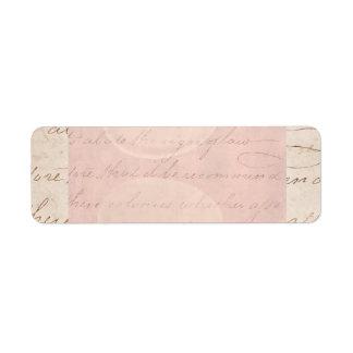 Papel de pergamino colonial de la escritura del etiqueta de remite