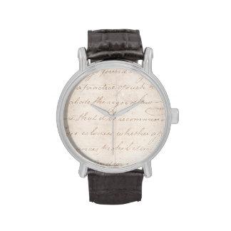 Papel de pergamino colonial de la escritura del reloj de mano
