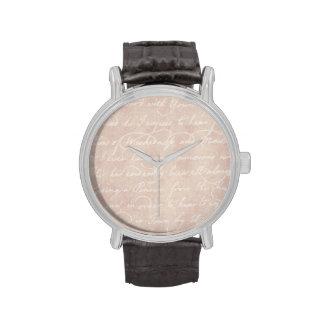 Papel de pergamino colonial de la escritura del relojes de pulsera