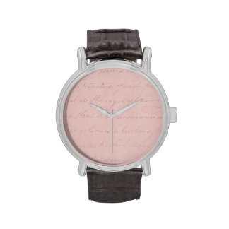 Papel de pergamino color de rosa colonial del relojes de mano