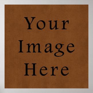 Papel de pergamino de cuero bronceado vintage de B Póster