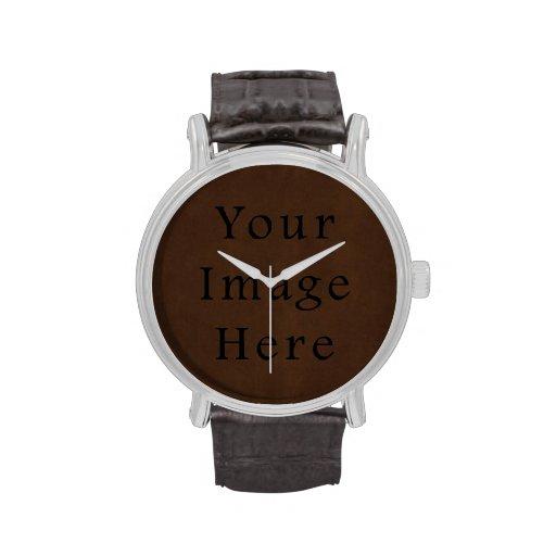 Papel de pergamino del café express de Brown oscur Relojes De Pulsera