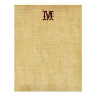 Papel de pergamino del monograma del vintage