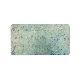 Papel de pergamino francés azul de la escritura etiqueta de dirección