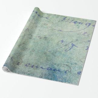 Papel de pergamino francés azul de la escritura papel de regalo