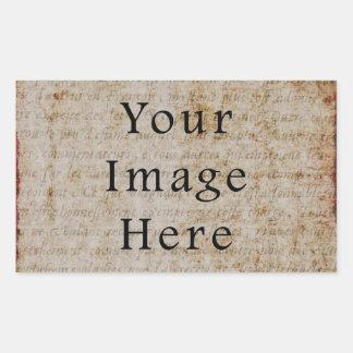 Papel de pergamino marrón claro del texto de la pegatina rectangular
