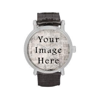 Papel de pergamino negro gris del texto de la escr relojes de pulsera