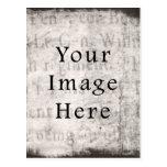 Papel de pergamino negro gris del texto de la escr tarjeta postal