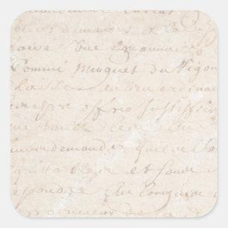papel de pergamino retro francés de la escritura pegatina cuadrada