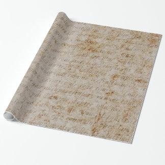 Papel de pergamino viejo del texto del moreno de papel de regalo