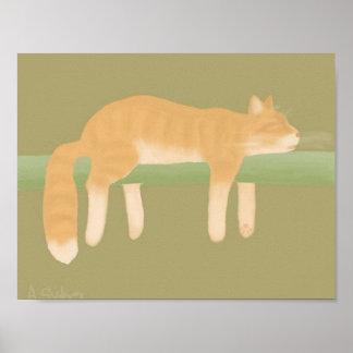 Papel de poster del gato el dormir (mate) póster
