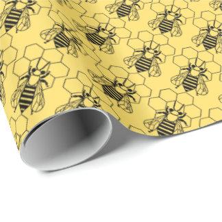 Papel de regalo - abeja en el panal