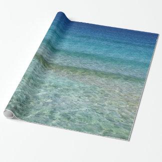 Papel de regalo azul cristalino del agua del