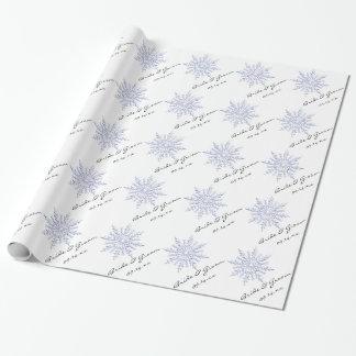 Papel de regalo azul de encargo del boda del copo