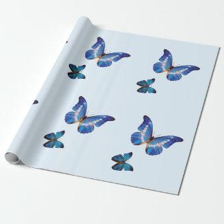 Papel de regalo azul de las mariposas de Morpho
