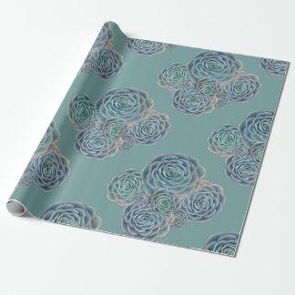 Papel de regalo de los Succulents del verde azul