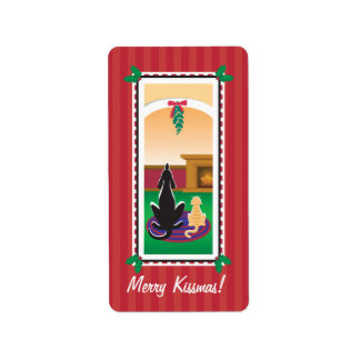 Papel de regalo de WagsToWishes_Merry Kissmas Etiquetas De Dirección
