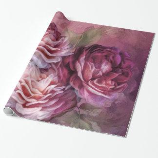 Papel de regalo del arte de Borgoña de tres rosas