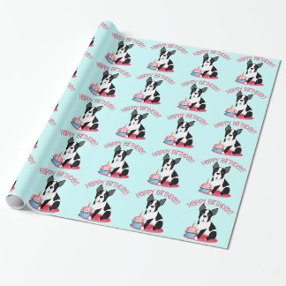 Papel de regalo del cumpleaños de Boston Terrier