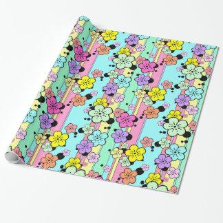 Papel de regalo en colores pastel de la flor de