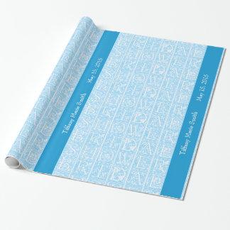 Papel de regalo personalizado ducha nupcial azul