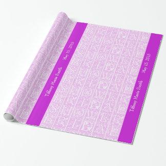 Papel de regalo personalizado ducha nupcial fucsia