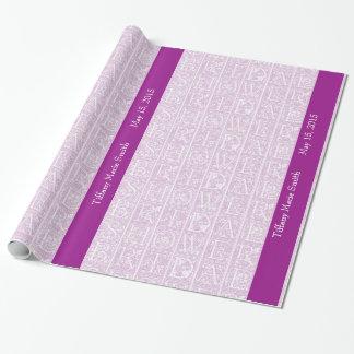 Papel de regalo personalizado ducha nupcial rosada