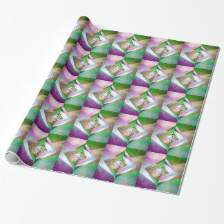 Papel de regalo púrpura y verde del cielo de