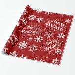 Papel de regalo rojo de las Felices Navidad de los