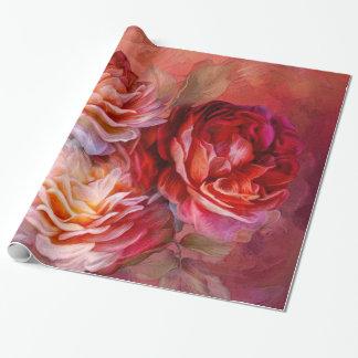 Papel de regalo rojo del arte de tres rosas