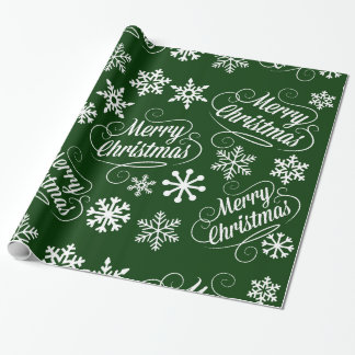 Papel de regalo verde de las Felices Navidad de