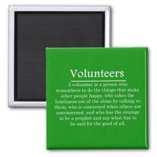 Papel de voluntarios imán cuadrado