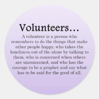 Papel de voluntarios pegatina redonda