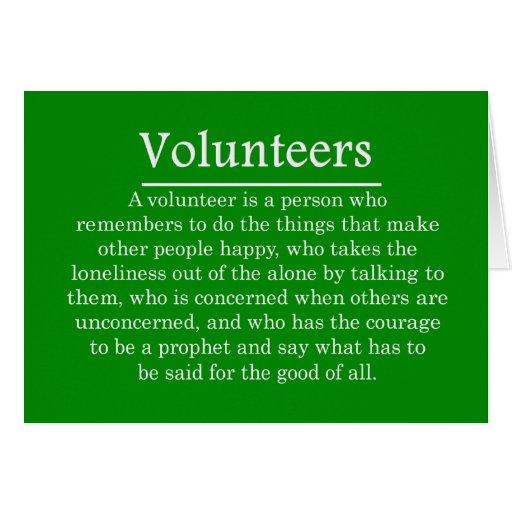 Papel de voluntarios tarjeta pequeña