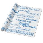 Papel del azul de Chanukah O Hannukah y blanco de Papel De Regalo